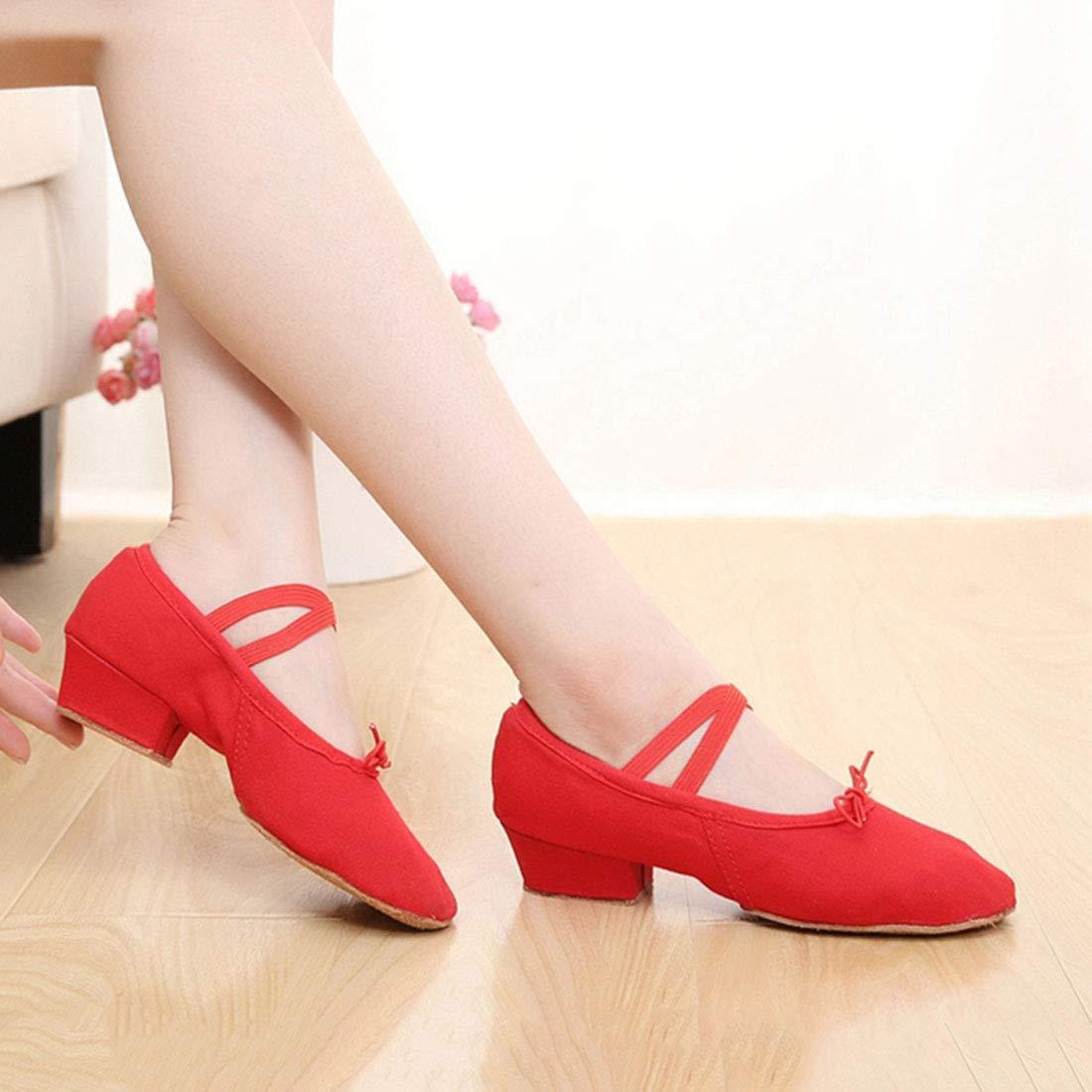 Femme Fille Chaussure de Danse de Salon Ballet Ballerine Latine Chaussons a Talon en Toile de Salsa Tango Valse
