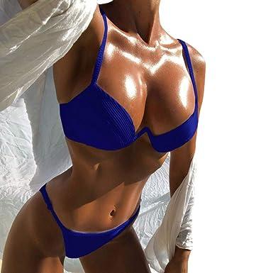 Internet_Push-up Bra Traje de baño bañador Mujeres Sexy Correas sólida Bikini Set Swimsuit,