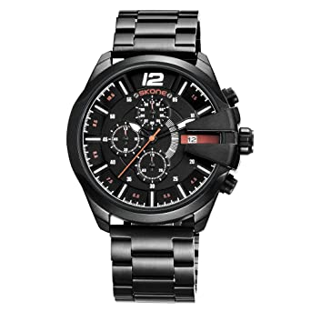 Skone Watches for Men Unique Big Face Watch, Stainless Steel Military Watch Waterproof relojes de