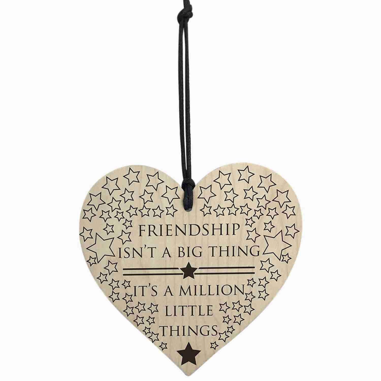 Semoic Friendship is A Million Little Things Wooden Hanging Heart Friends Love Plaque