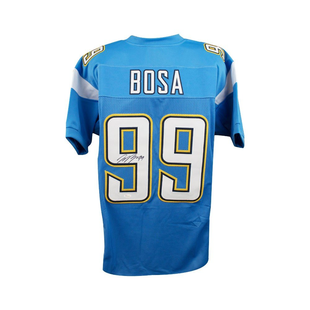 Joey Bosa Autographed Los Angeles Chargers Custom Blue Football Jersey - JSA COA (A) SCC