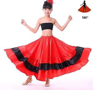 SMACO Traje de niña española Vestido Largo de Estilo Flamenco Rojo Falda de salón para niñas Niño Vestidos de Baile Negros Disfraces para niños Ropa: Amazon.es: Deportes y aire libre
