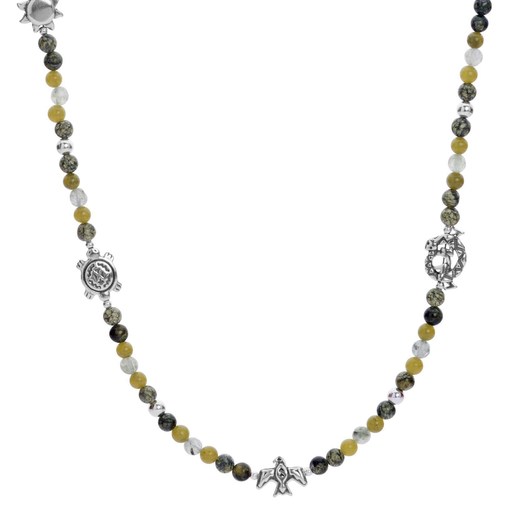 Sterling Silver 24'' Green Gemstone Beaded 7 Charm Necklace by American West (Image #1)