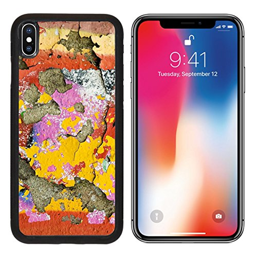 MSD Premium Apple iPhone X Aluminum Backplate Bumper Snap Case IMAGE ID 19831569 Background texture of vivid colourful peeling paint in grunge graffiti on an old discoloured cement (New Cement Plaster)