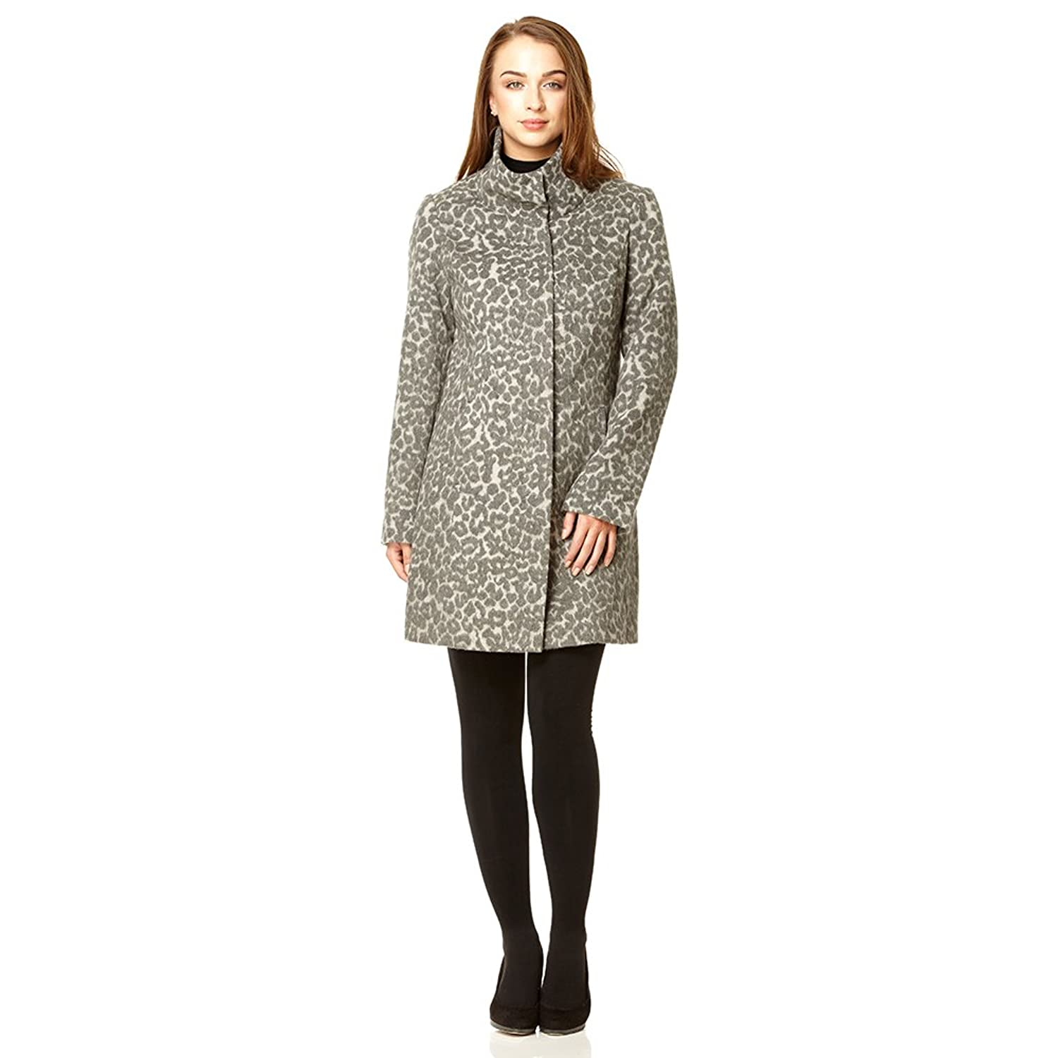 Anastasia High Neck Leopard Print Wolle Wintermantel,grau