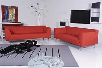 Rolf Benz Sofa 318 Linea Sofagarnitur Stoff Rot Orange Exklusive