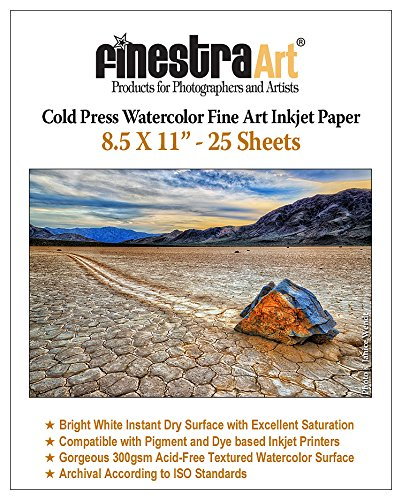 - 8.5x11 Cold Press Watercolor Fine Art Inkjet Paper 300gsm 25 Sheets
