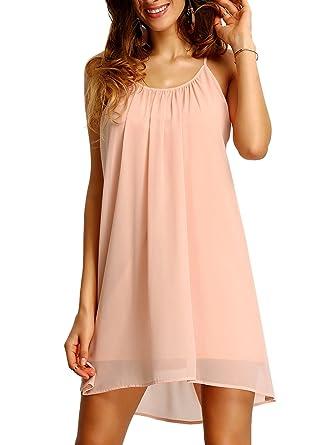 486354bc1d Romwe Women s Spaghetti Strap Sundress Hollow Out Summer Chiffon Beach  Short Dress - Pink -