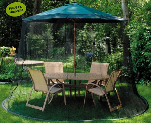 Mesh Mosquito Net Enclosure – Fits over a 9′ Patio Umbrella, Outdoor Stuffs