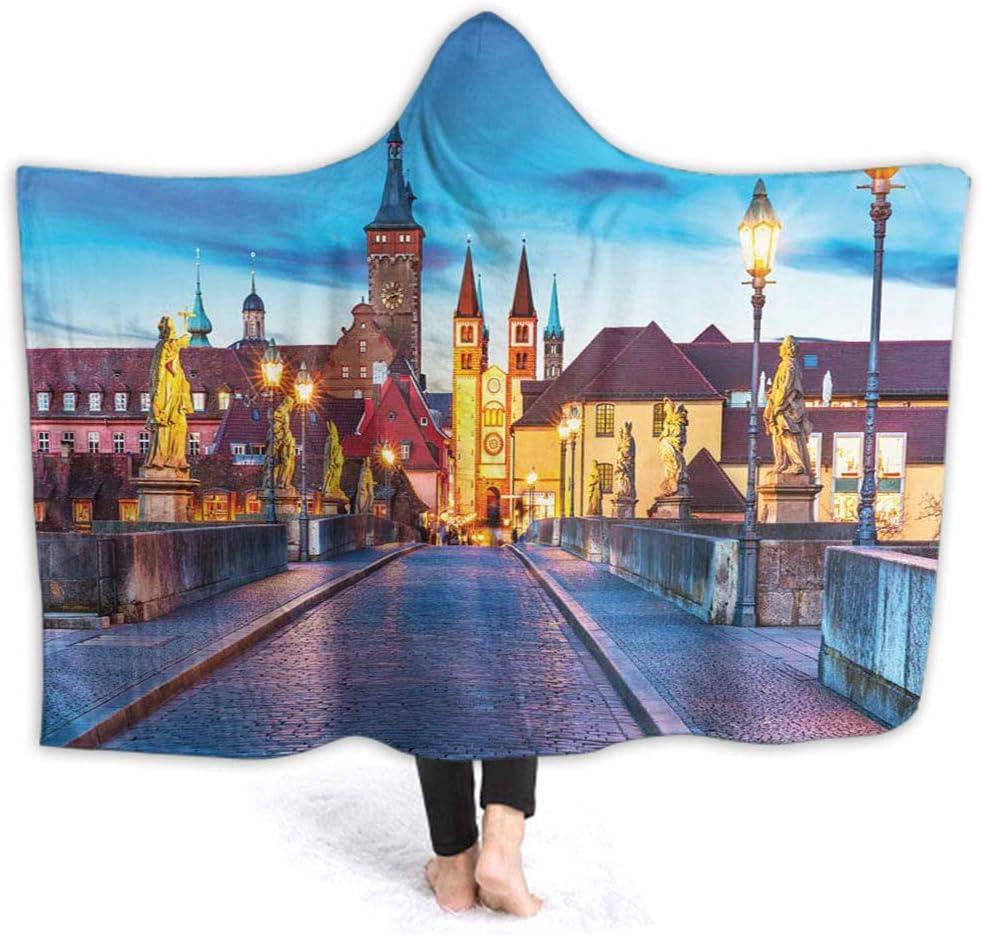 Wearable Hood Throw Blankets Wrap Bavaria Germany Bridge Children Blanket Gift W60 x L50 Inch