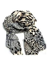 Rokou Women's Soft Chiffon Leopard Shawl Scarf Wrap Pashmina Stole Gray Color