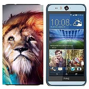 TECHCASE---Cubierta de la caja de protección para la piel dura ** HTC Desire Eye ( M910x ) ** --León viento Majestic Criatura de la naturaleza animal