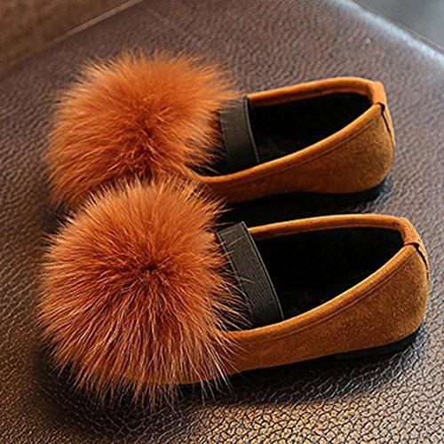 BZLine® Baby Schuhe Mädchen Soft Sole Winter Plüsch Prinzessin Schuhe Braun