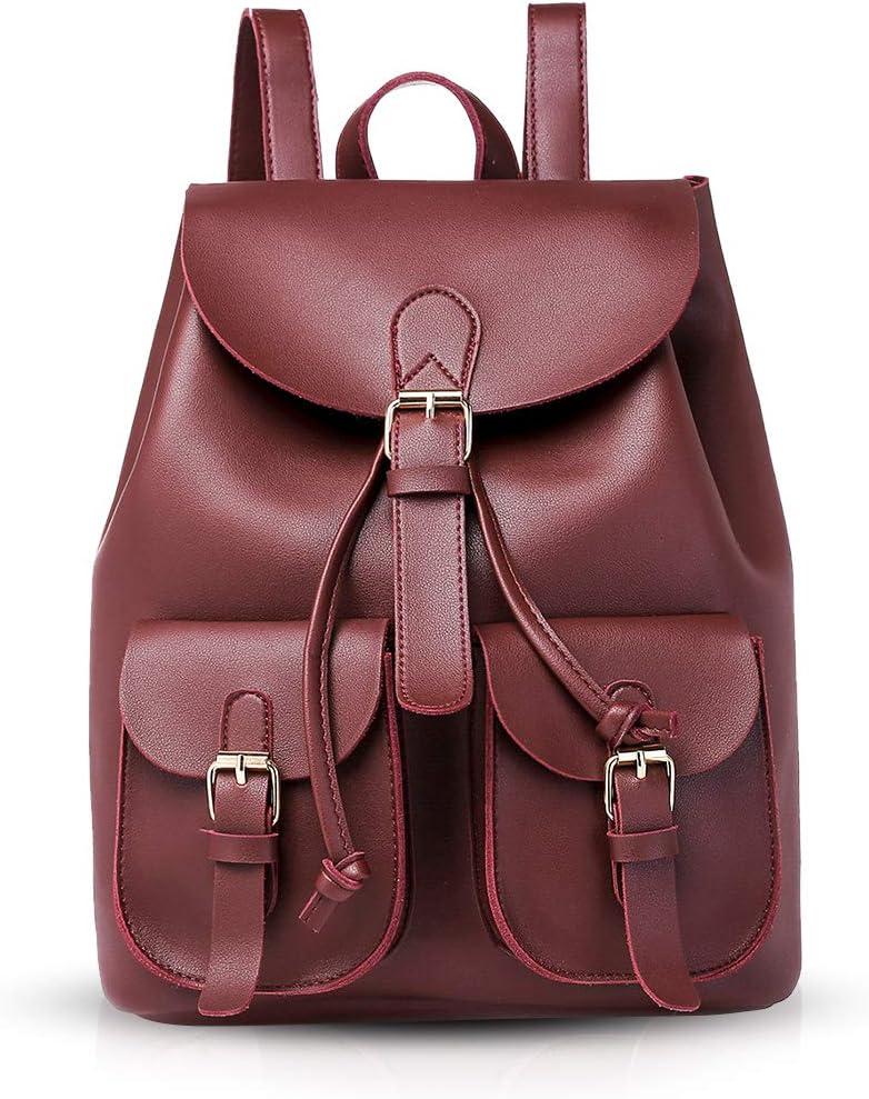 NICOLE /& DORIS Sac /à dos femme /à la mode Sac /à dos d/écontract/é sac /à dos quotidien Sac /à main Femme en cuir PU Vin rouge