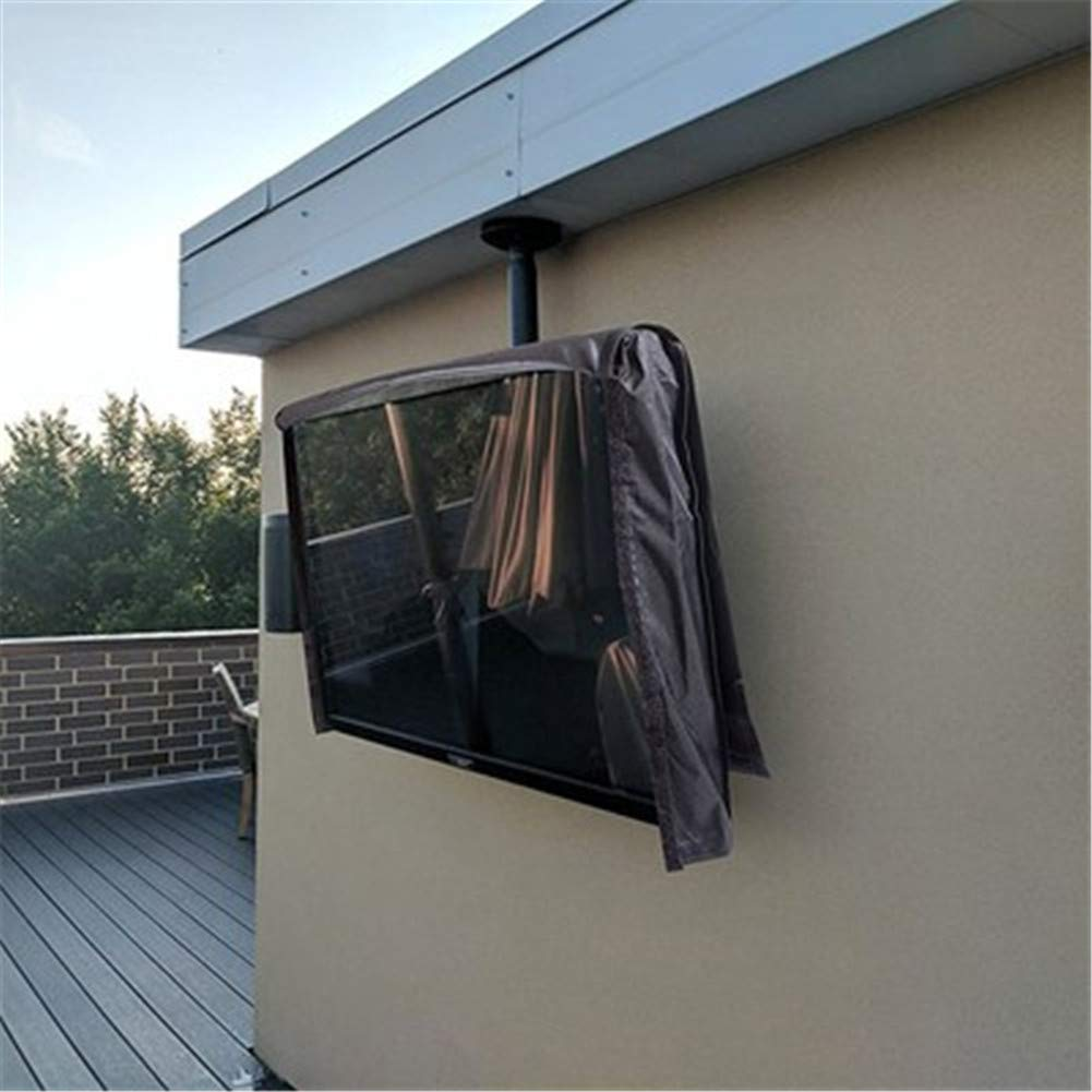 Outdoor TV Cover, The Best Black Quality Weatherproof and Dust-Proof Material with Microfiber Cloth. Protect Your TV Now,F