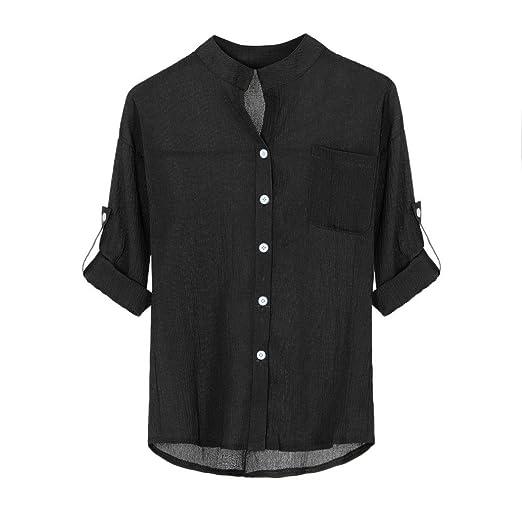 d64a32c68b305 YANG-YI Clearance Women Cotton Solid Long Sleeve Shirt Casual Loose Blouse Button  Down Tops