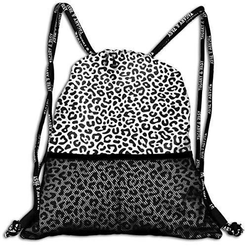 alized Animal Pattern Drawstring Bag Knapsack With Mesh Pockets Travel Sports Day Backpack ()