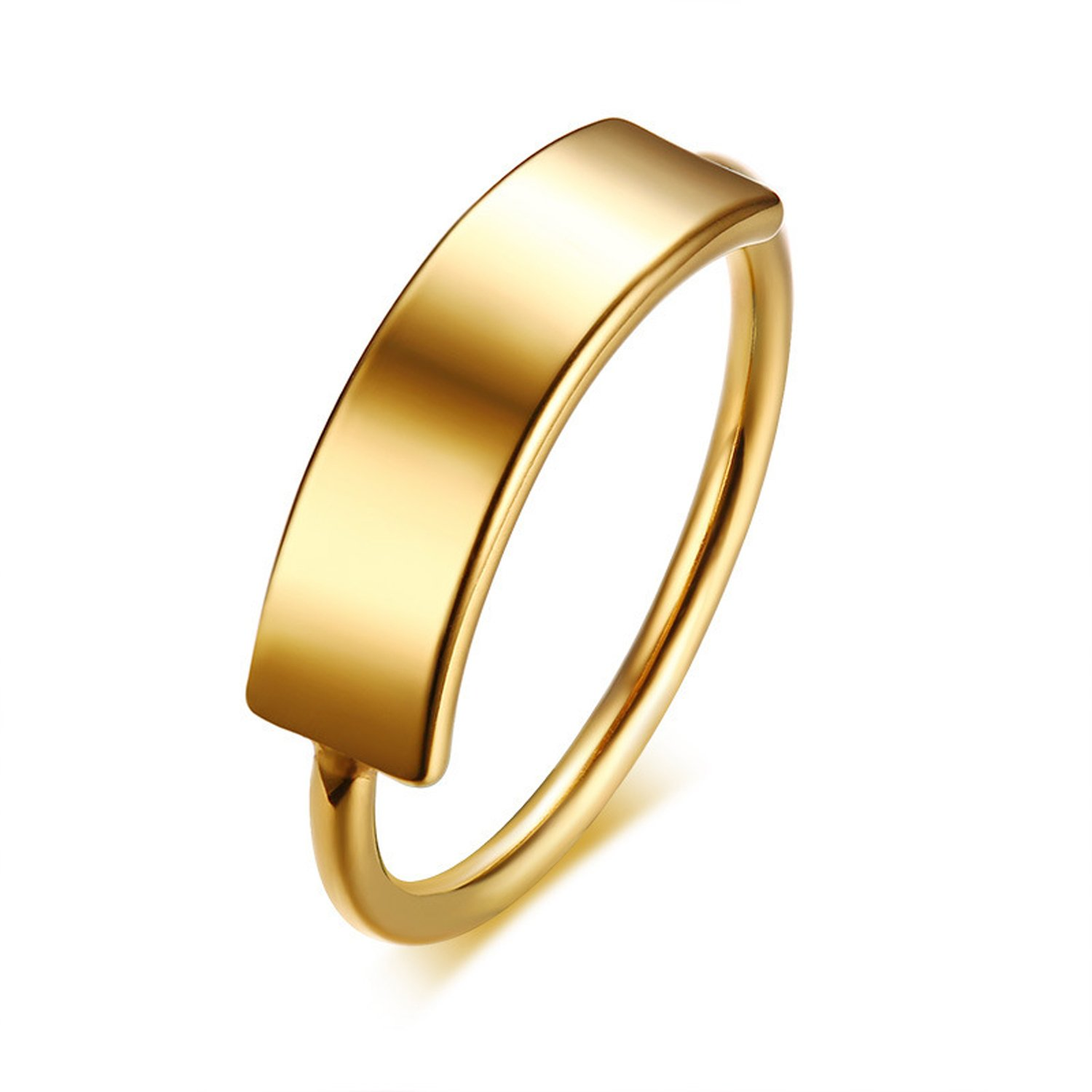 Tcbasrt Women's Gold-plated High Polished Comfort stainless steel ring Jin sheng feng