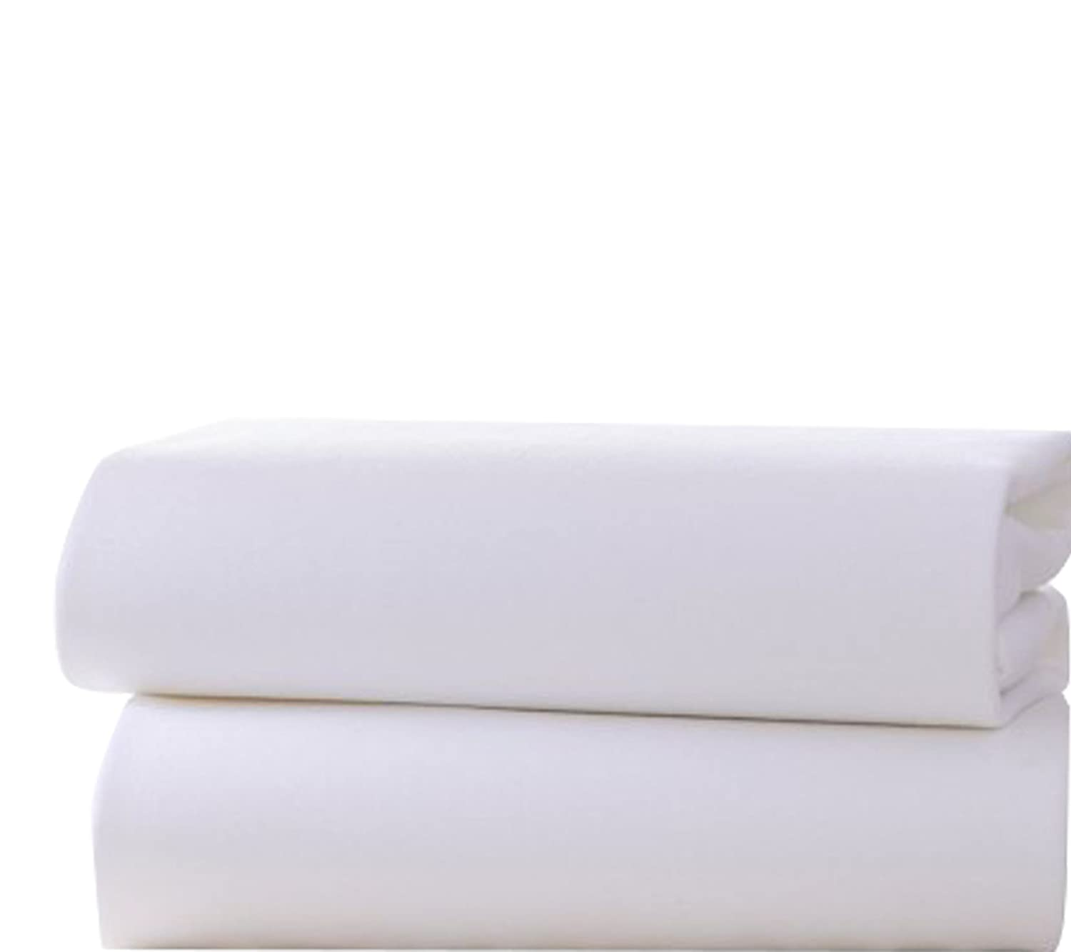 Baby Cot Bed Fitted Sheet 2 Pack Jersey Sheet Bed Sheet Newborn Toddler White 60 x 120cm)