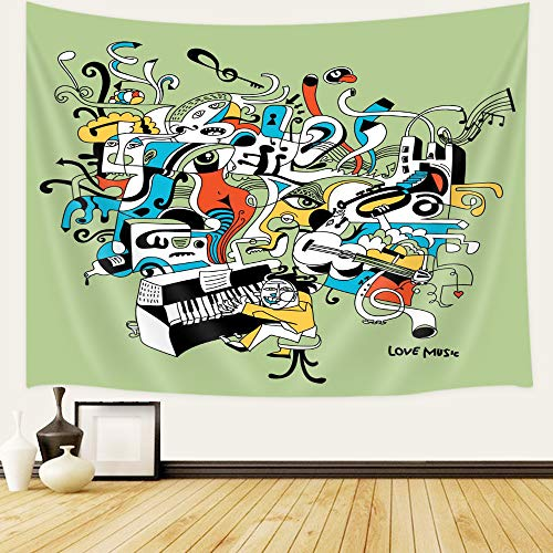 Music Tapestry Wall Hanging Art Home Decor, Graffiti Style Music Lettering Hip Hop Rhythm Tempo Hipster Concept Wall Tapestry Art for Home Decor Dorm Living Room Bedroom Bedspread, 71X60 Inches