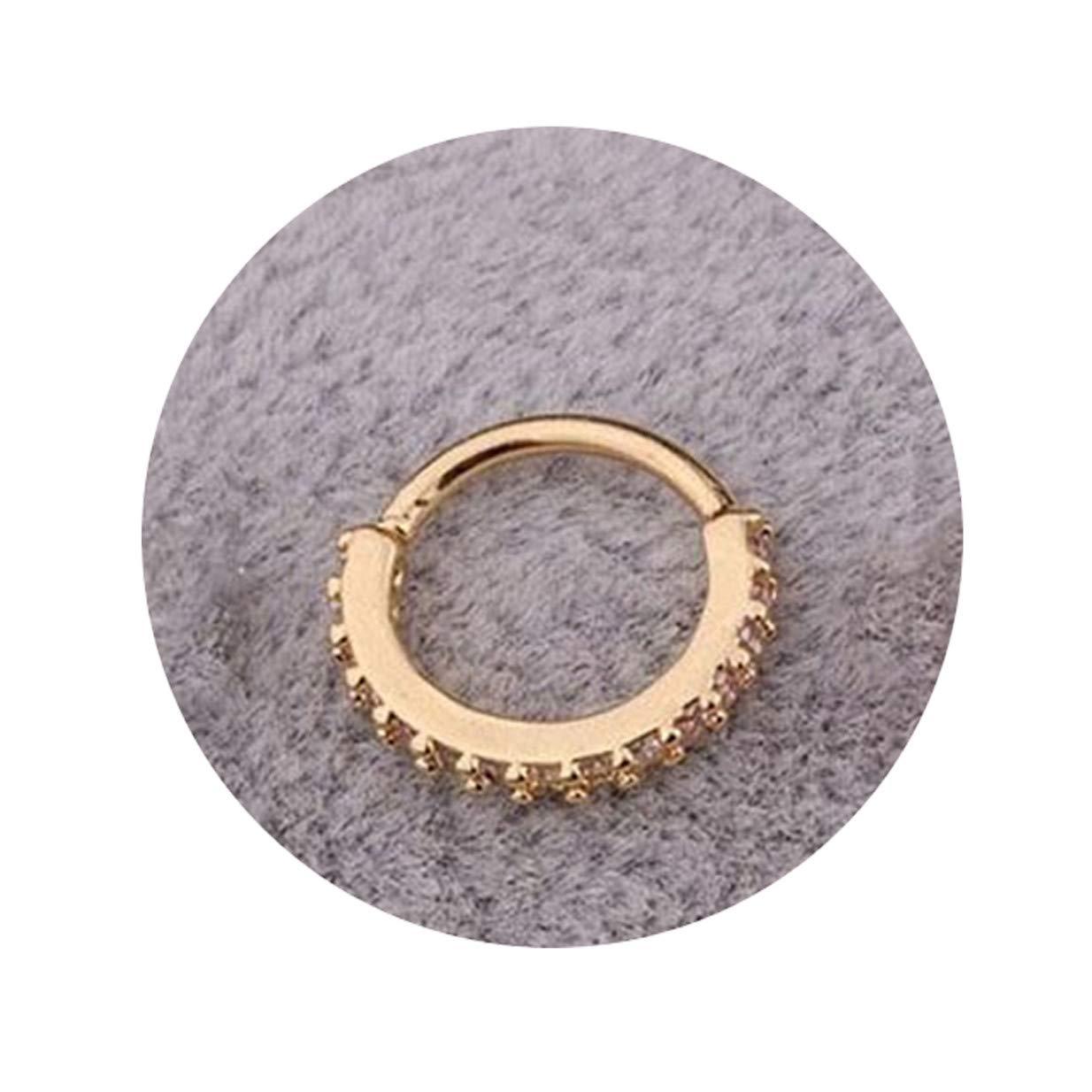 Golden,6mm EJY Einfache Runde Micro-Inlaid Strass Zirkon Nasenring Nase Stud Ohr Knochen Nagel