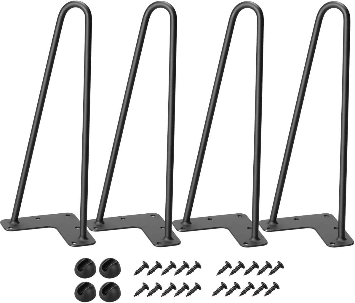 "TE DEUM 12 Inch Satin Black Hairpin Legs (Set of 4 Heavy Duty 2 Rods Legs), 3/8"" Diameter, Metal Heavy Duty Mid-Century Modern,Coffee Table Legs …"