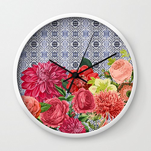 Society6 Floral Moroccan Wall Clock White Frame, Black Hands