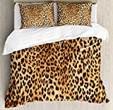 Animal Print Decor Duvet Cover Set by Ambesonne, Wild Animal Leopard Skin Pattern Wildlife Inspired Stylish Modern Illustration, 3 Piece Bedding Set with Pillow Shams, King Size, Brown Beige
