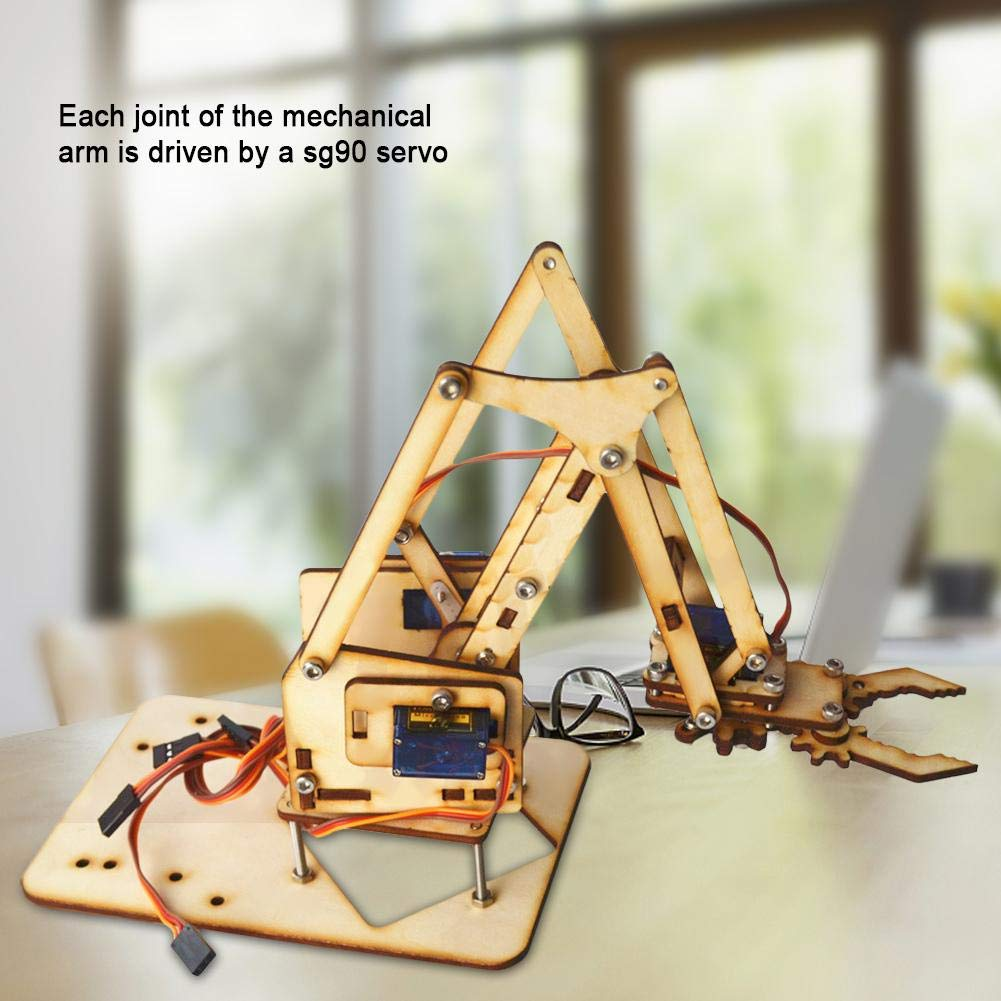 Robot Arm Kit 4 DOF Wood Robotic Mechanical Arm sg90 Servo for Arduino Raspberry Pi SNAM1500,for Students,DIY Enthusiasts etc.