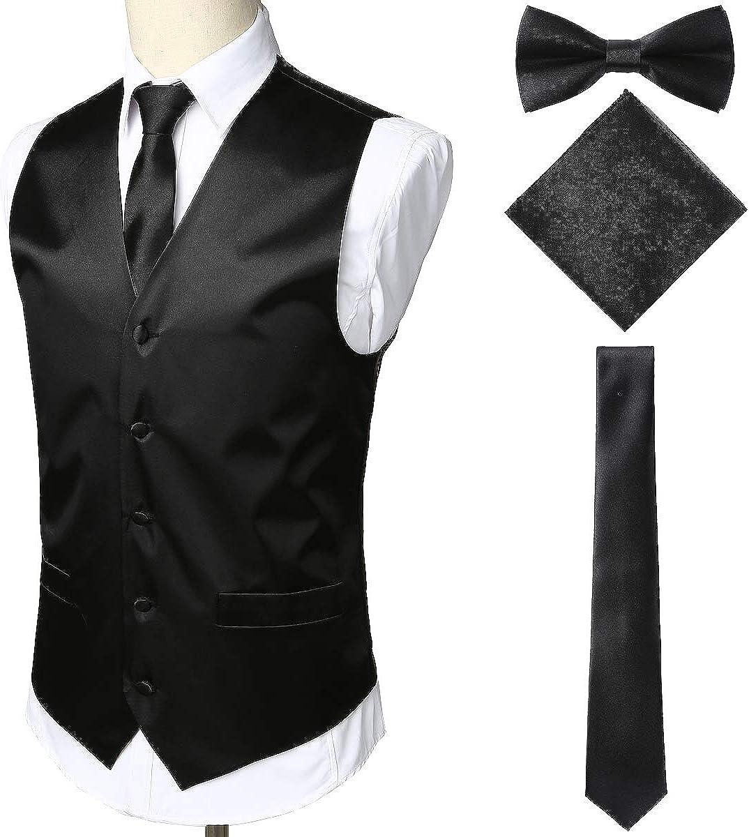 Details about  /ZEROYAA Men/'s Solid 4pc Shiny Satin Vest Necktie Bowtie Pocket Square Set for Su