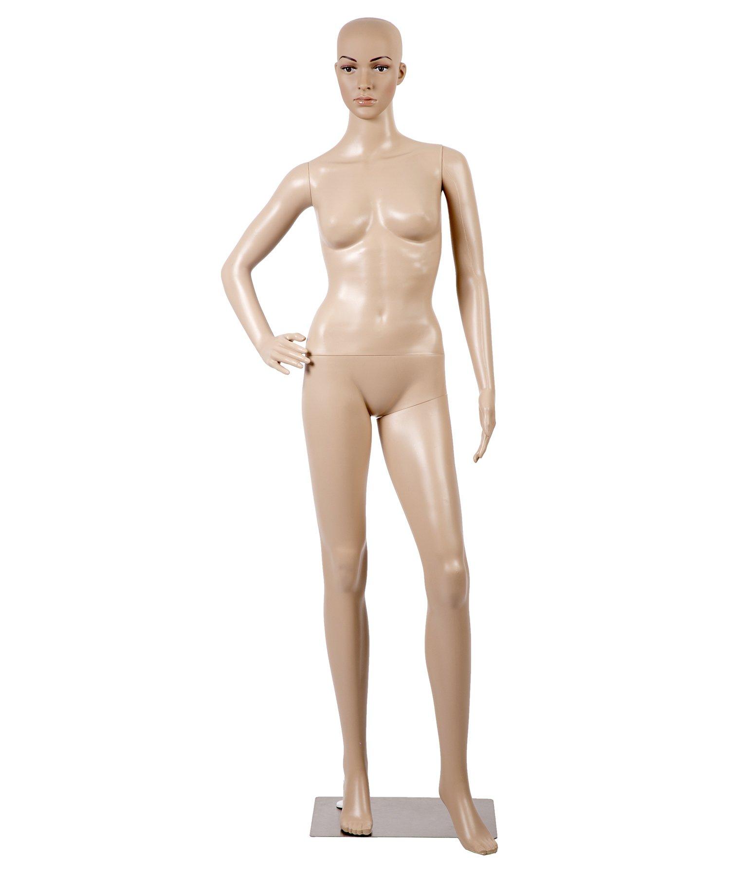 Female Full Body Realistic Mannequin Display Head Turns Dress Form w/Base