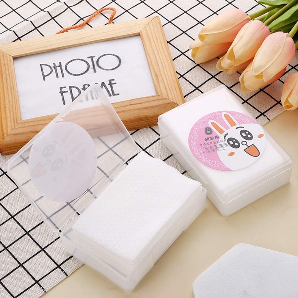 Frcolor 80 unids desechables suaves almohadillas de algod/ón limpieza facial de limpieza para la limpieza de la cara maquillaje quitar tejido con caja de almacenamiento