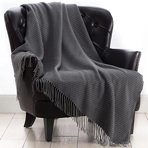VVFamily Grey Knitted Throw Blanket with Tassels 50x60 Decorative Chenille Woven Blankets for Sofa Couch Super Soft Warm Fringe Knit Throws by Chenille Blanket Pattern