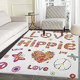 Groovy Area Rug Carpet Love Hippie Flowers Festive Season Ladybird Ladybugs Nature Flourishes Art Print Living Dining Room Bedroom Hallway Office Carpet 4'x5' Multicolor