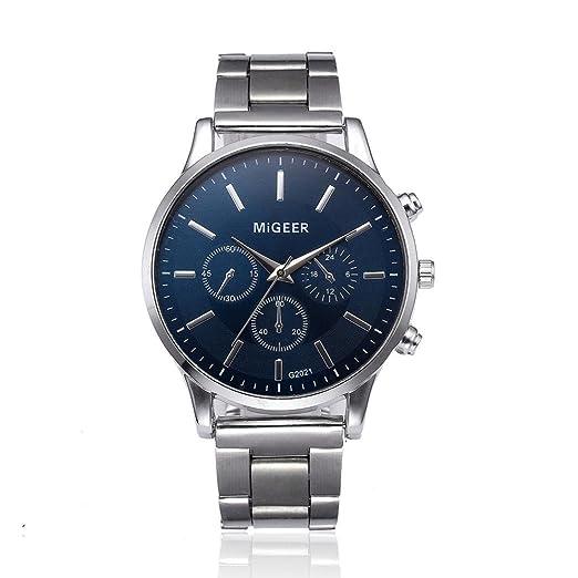 Reloj de cuarzo analógico retro para hombre, QinMM reloj de pulsera acero inoxidable (Plateado): Amazon.es: Relojes