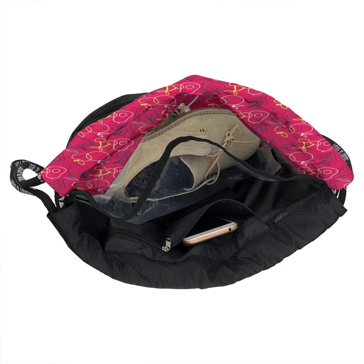 HUOPR5Q Red Fruit Drawstring Backpack Sport Gym Sack Shoulder Bulk Bag Dance Bag for School Travel