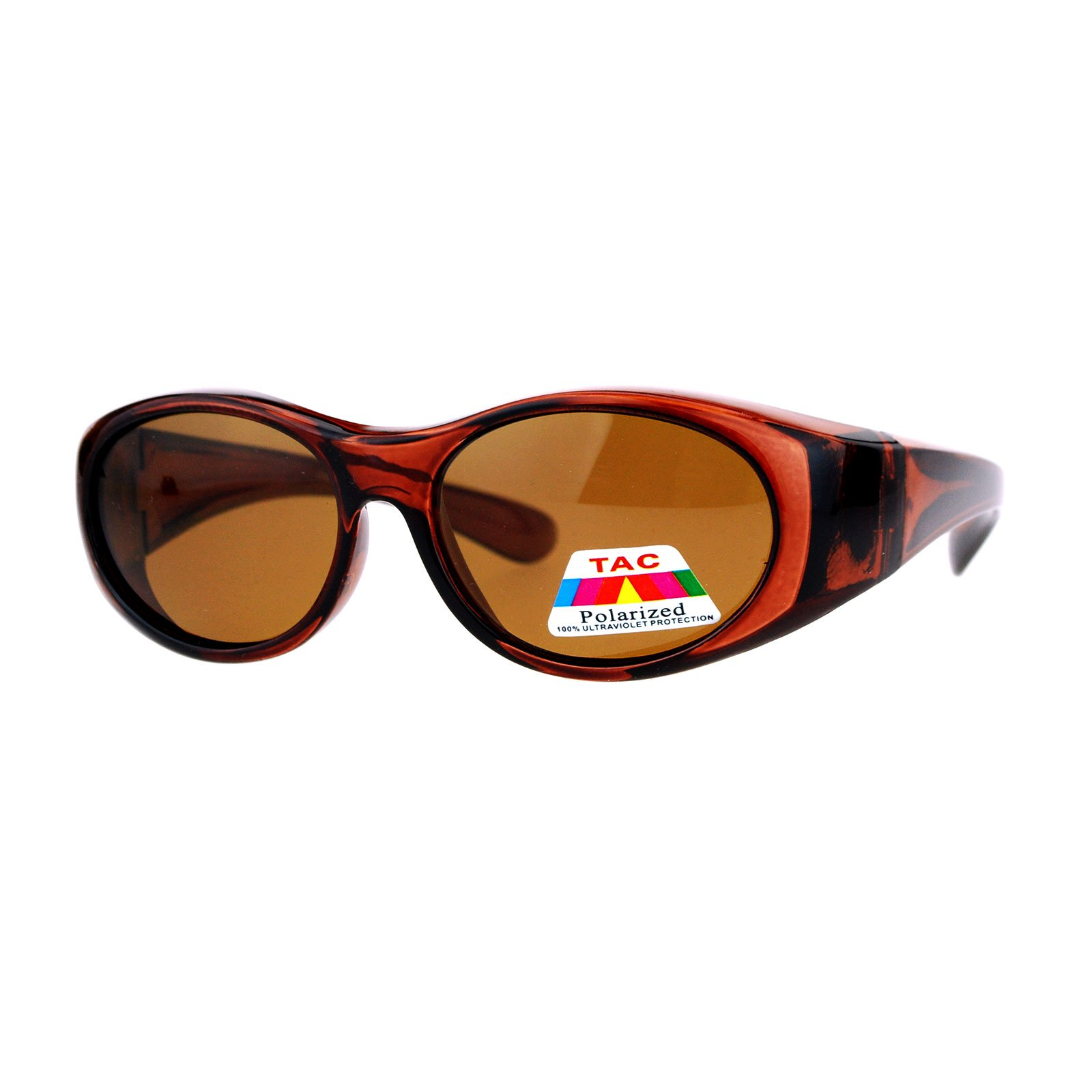Kid's Polarized Fitover Sunglasses Over the Glasses Shades for Boys Girls (brown, 49)