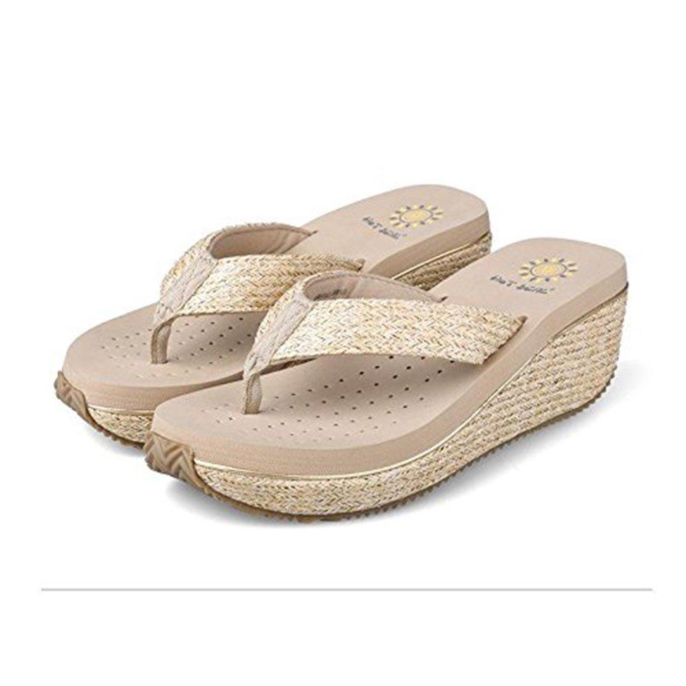 WANGXN Womens Flip Pantofole Sandali Tempo libero Anti-frantumazione e moda Verde Beige Marrone Nero , 5362 beige , 35