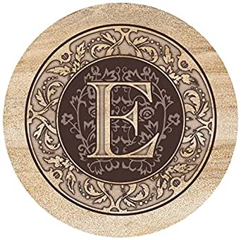Thirstystone Drink Coaster Set, Monogrammed Letter E
