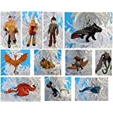 How to Train Your Dragon 2 Christmas Ornaments Featuring Hiccup, Astrid, Toothless, Eret, Hookfang, Meatlug, Stormfly, Thornado, Cloudjumper, a Skrill Dragon, a Double-headed Dragon and a Timberjack Dragon, Ornaments Average 1/2 Inch to 2 Inches Tall, Great for a Mini Christmas Tree