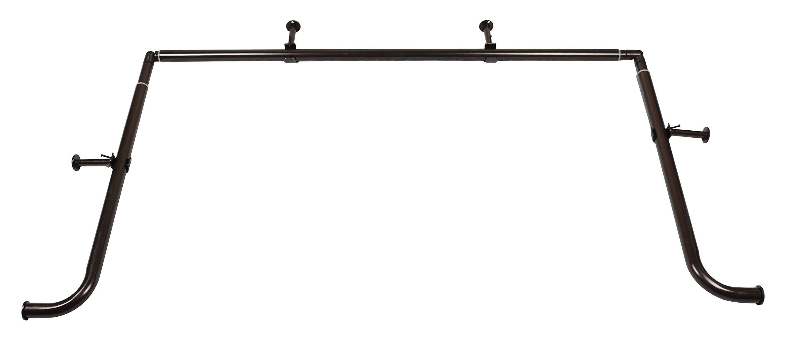 Meriville 1 Inch Diameter Bay Window Curtain Rod Set For