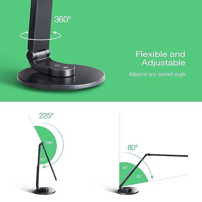 TopElek Lámpara de escritorio LED con puerto USB para cargar con 5 temperaturas de color y 7 niveles de brillo, un total de 35 modos de iluminación para ...