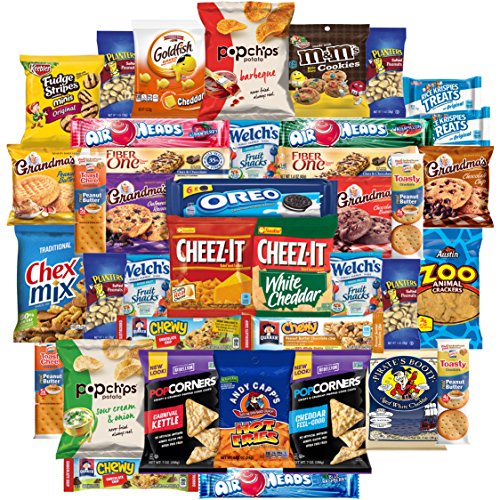 Cookies Chips & Candies Snacks Variety Pack Bulk Sampler Assortment (Care Package 40 Count) (Rice Cakes White Cheddar)