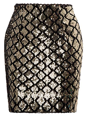 Sparkle Stretchy Bodycon Skirt Sequin Mini Skirt for Night Out Party, Gold, - Mini Sparkle Skirt