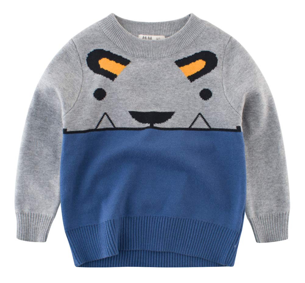 BIUXIAOBAI Little Boys Cute Patchwork Pullover Sweater Kids Warm Knitwear 5-6 Years, Grey