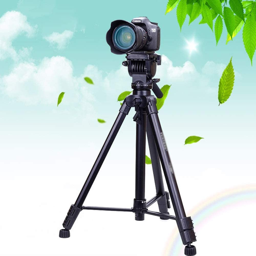 Color : Black, Size : One Size AiKuJia Tripod Tripod with Adjustable-Height Legs Outdoor Compact Aluminum Camera Tripod Monopod Suitable for Mobile Digital SLR Camera Travel and Work Lightweight