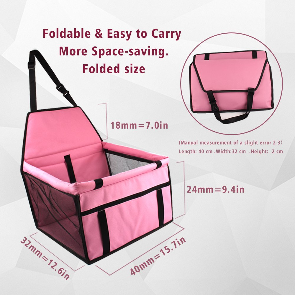 Lovely Pink Pet Car Seat Minve Folding/&Waterproof Dog Car Seat Carrier with Seat Belt /&Storage Bag for Dogs and Cats