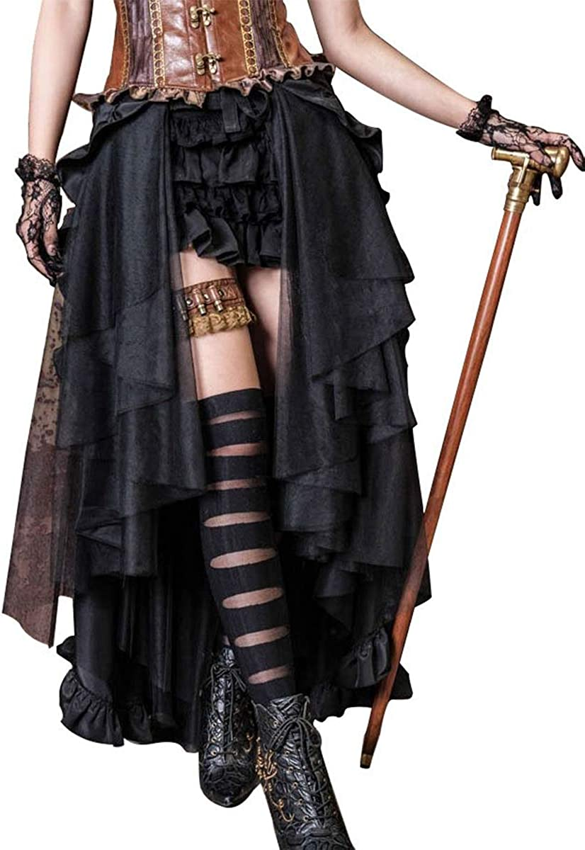 970 Retro Steampunk Victorian Lady Ruffle Gothic Punk Bustle Tulle Long Skirt