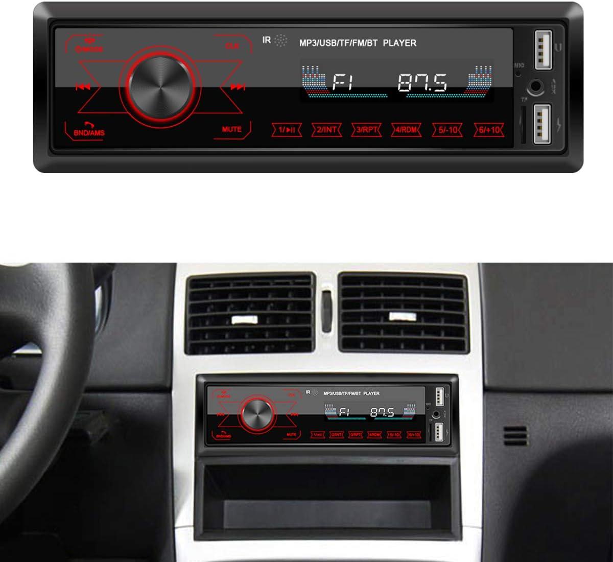 NON Radio del Coche Manos Libres Bluetooth Bluetooth Estéreo del Coche con Reproductor USB Y Mp3 Soporte BT Aux-In Music Play W/Mic