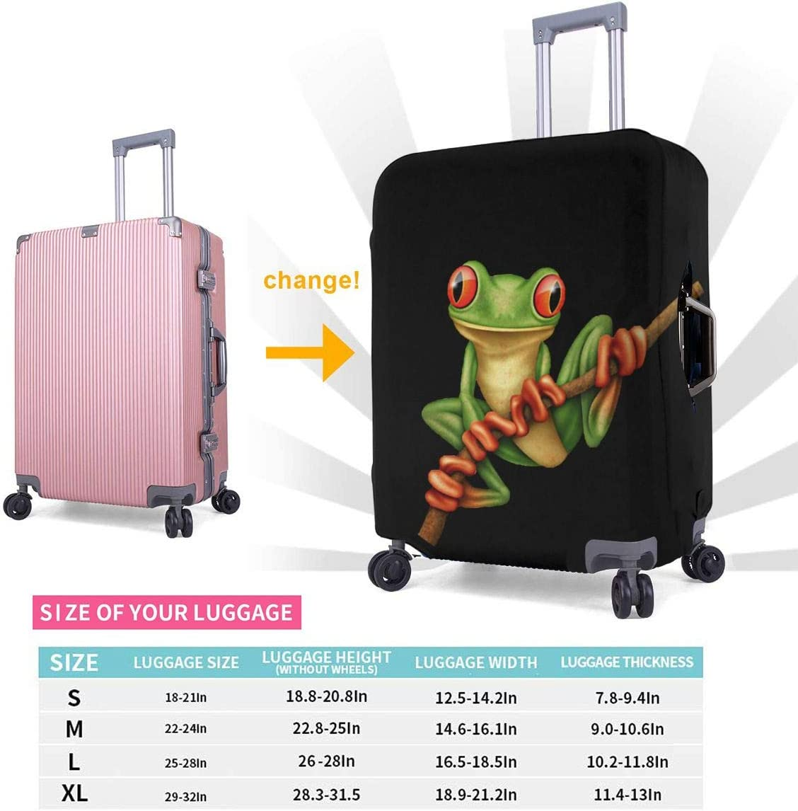Tree Frog Elastic Travel Luggage Cover,Double Print Fashion Washable Suitcase Protector Cover Fits 18-32inch Luggage